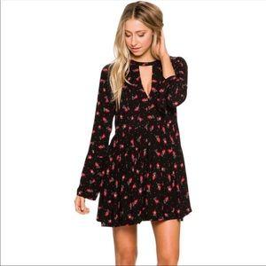 NWT Free People Tegan Black Floral Dress